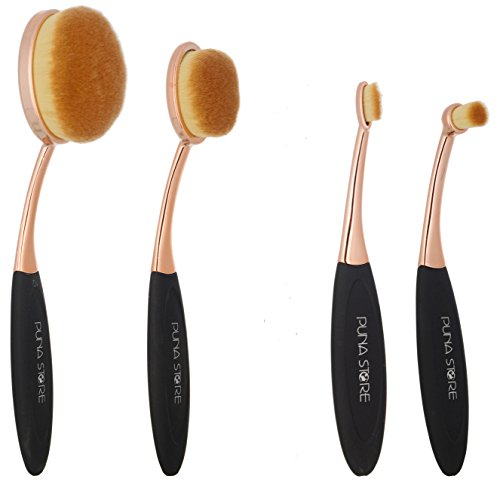 Puna Store Oval Brush Set, Black/Gold, 4 Pieces