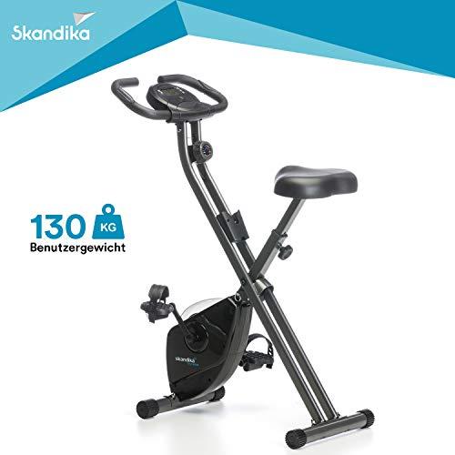 Skandika Foldaway X-1000 Fitnessbike Heimtrainer x-bike F-Bike klappbar mit Handpuls-Sensoren, 8-stufiger Magnetwiderstand, LCD Display, 130 Kg max. Gewichtsbelastung