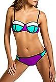 CASPAR BIK005 Damen Bandage Bikini Set , Farbe:weiss-mint / lila WP;Größe:38 M UK10 US8