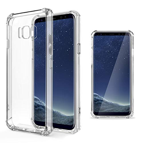 Moozy Transparent Silikon Hülle für Samsung S8 Plus/Samsung Galaxy S8+, Stoßfest Klar TPU Case Handyhülle Schutzhülle