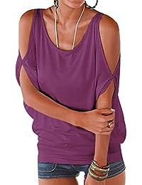 ISSHE Camisetas Manga Corta Cuello Redondo Anchas Mujer Blusas Elegantes Camiseta Largas Chica Camisas Dama Fiesta