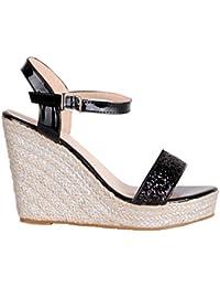 KRISP® Femmes Sandales Compensées Chaussures Talon Tressé Casual