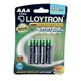 Lloytron AAA 550 mAh NIMH AccuDigital Battery (Pack of 4)