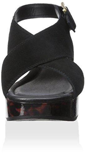 Donald J Pliner Sahar Femmes Daim Sandales Compensés Black-Natural