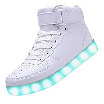 Topteck Unisex Men Women USB Charging 7 Color Changing LED Lighted Luminous Couple Casual Sport Shoes High Top Flash Sneakers