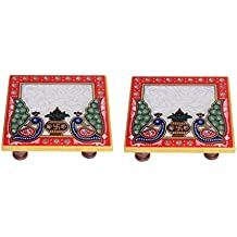 Handicrafts Paradise Kalash Design Marble Pooja Chowki (10.2 cm x 10.2 cm x 2.55 cm, Set of 2),Multicolor