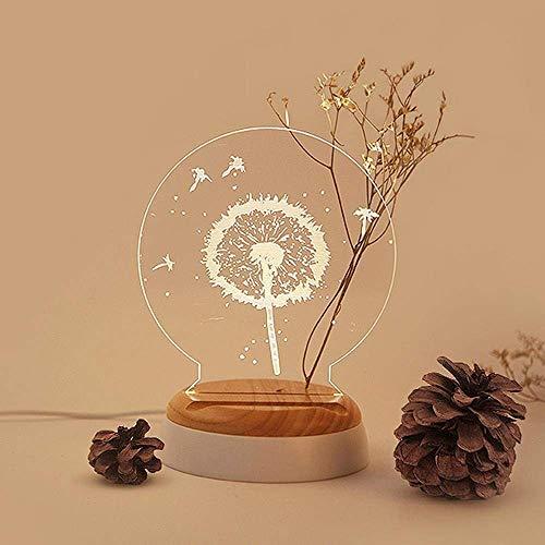 DEJ Romantische, Kreative Löwenzahn-Led-Schreibtischlampe, Led-Nachtlicht mit Exquisit Bemaltem Löwenzahnmuster-Designlampenduft