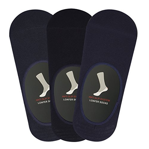Balenzia-Mens-Modal-No-Show-Socks-with-Anti-Slip-Silicon-System-Pack-of-3-Black-Navy-Charcoal-Invisible-Loafer-Socks