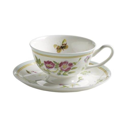 Maxwell & Williams S303103 Butterfly Garden Tasse mit Untertasse. Kaffeetasse, Becher, 180 ml, in Geschenkbox, Porzellan, mint (Garden Teller Butterfly)