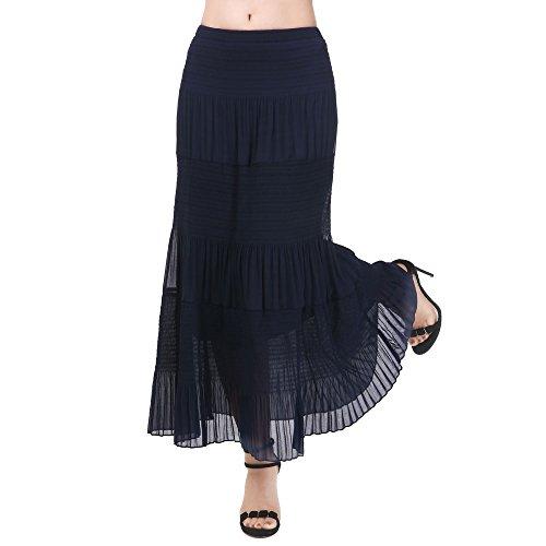 NASHALYLY elegante lange Chiffon-Röcke, Frauen-Normallack-hohe Taille faltete Maxi langen Rock-Strand-Kleid(Blau,2XL)