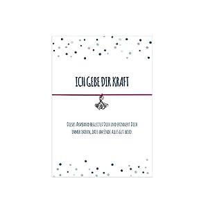 Glücksschmiedin Kraft Armband mit Ginko Blatt Anhänger versilbert, mit elastischem Textilband in verschiedenen Farben und liebevoller Karte: …DASS am Ende Alles Gut Wird.