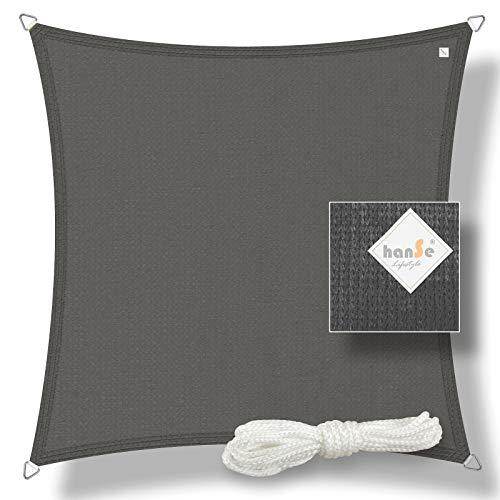 hanSe® Marken Sonnensegel Sonnenschutz Segel Quadrat 2x2 m Graphit