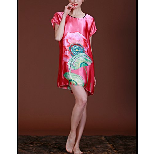 Zhhlaixing Women Round Neck Floral Print Pajama Top Sleep Tee Shirt Dress red