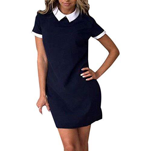 Republe Frauen Büro White Collar Hemd Kleid-Sommer-Kurzschluss-Hülsen-Patchwork-Kleid