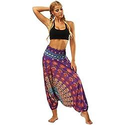 Nuevo!! Pantalones De HaréN De La India Danza Pantalones De Yoga Pantalones Hippie Boho Mujeres Desgaste Playa Fiesta Mono (Free Size, Morado#2)