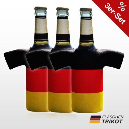 Flaschentrikot Deutschland 3er Set - Flaschenkühler, Bierkühler, Getränkekühler aus Neopren - Fanartikel und Partyspaß zum Grillen, Public Viewing und Feiern (Kreative Sport Kostüm Ideen)