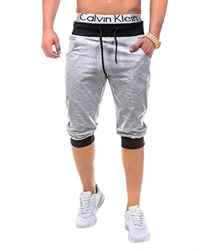BetterStylz PumpUpBZ Herren 3/4 Jogging-Shorts Sweat-Shorts Bermuda Fitness Sweatshorts Slim Fit Joggingshorts div. Farben (S-XXL) (Medium, YB Grau/Schwarz) - 3/4 Sweat