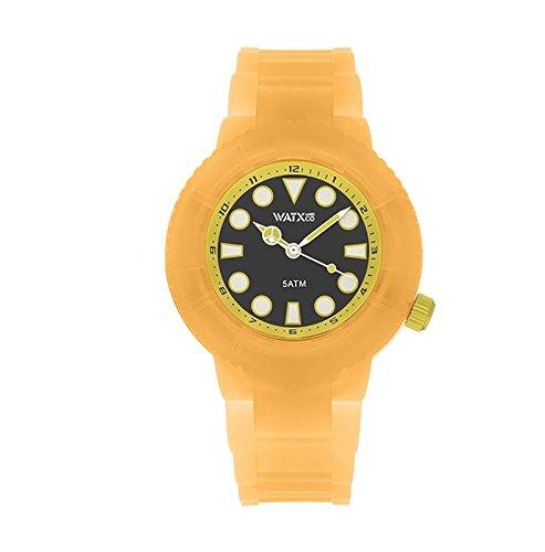 watxandco. Uhr Analogic Goldfish transparent orange. Uhr Analog für Mädchen und Jungen mit Silikon-Armband transparent in orange. Dunkelblaues mit Indizes in gelb. 38mm