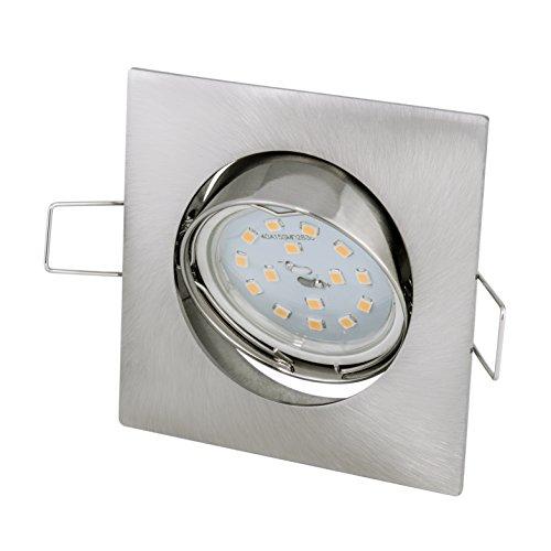 LED Einbaustrahler Set inkl. GU10 5Watt LED Leuchtmittel warmweiß 430 Lumen eckig Quadratisch Einbaurahmen Einbauspot Spot Lampe Licht Deckenlampe 230Volt Edelstahl gebürstet