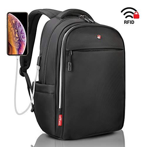 All4way Zaino per Portatile – Anti furto Zaino Impermeabile Rain Cover – Swiss Design RFID Blocking – Porta USB di Ricarica – Business College da Viaggio Scuola Zaino (15.6', Nero, New)