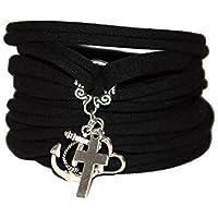 Armband stretch - Liebe Glaube Hoffnung - silberfarben - Wickelarmband in vielen Farben - Endlosarmband - Geschenk Valentin