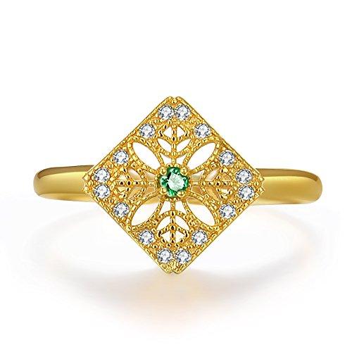 Ring für Frauen, Schneeflocke, 14Karat vergoldet, 925s Sterling-Silber-Band, verstellbar (Schneeflocke Ringe)