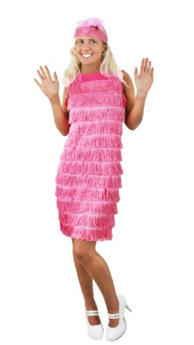 Charleston,Flapper, Kostüm, Kleid für Damen in Rosa kommt mit dazugehörigen farblich passenden Stirnband mit Feder.Das Kleid hat Fransen auf der vorderseite Charleston,in der Grösse XXLARGE