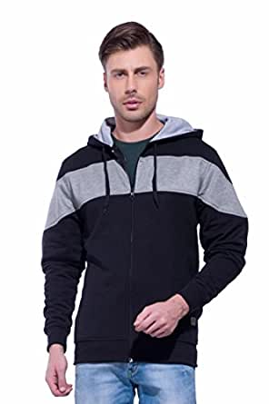 Alan Jones Clothing Men's Cotton Full Sleeve Hooded Sweatshirt (Black, Small)