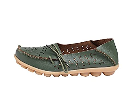 Verocara Women's Tanner Pebbled Comfortable Leather Hollow Out Lace Up Casual Flat Shoes Driving Loafers Army green 7.5 UK