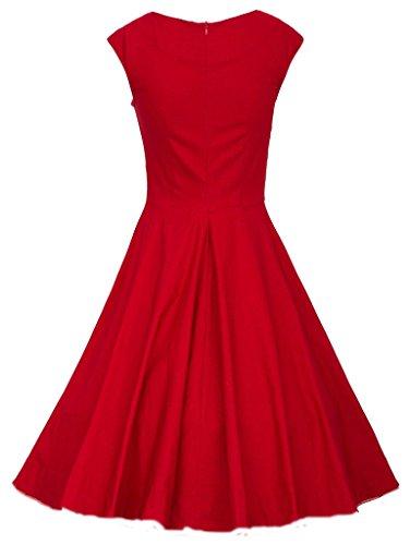 Smile YKK Femme Audrey Hepburn Style Rétro Robe Zippé sans Manche Grand Pan Rouge