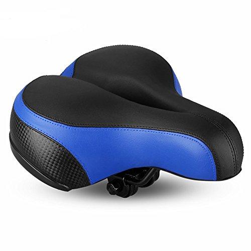 FLYGEND Fahrrad Gel Schaum Leder Sattel-Ergonomie Entwickelt Wasserdicht & Anti-Schock Dual Ball Komfortable Fahrrad Kissen Sattel 26X21cm,Blue -