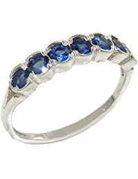 Luxury Solid Sterling Silver Vibrant Natural Blue Sapphire Eternity Ring