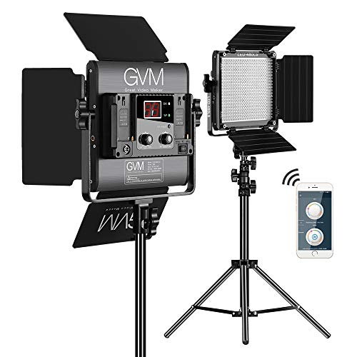GVM LED Videoleuchte Fotografie Beleuchtung Panel 480LED CRI97 TLCI97 Dimmable 2300K-6800K Video Licht Mit Light Stand 2 Kit für im Freien Interview Studio Portrait Photographic(480LS-B2L) GVM LED