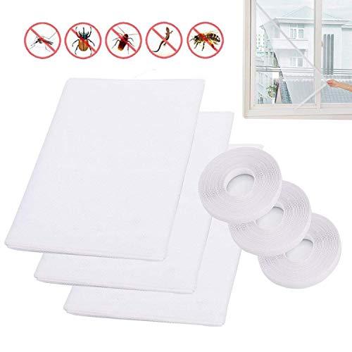 3 X Moskitonetze für Fenster, LATERN 1,3m x 1,5m Insektenschutznetz Fliegengitter Mesh Bug Bee Moskito-Schutz mit 3 Rollen Selbstklebeband (10mm breit)