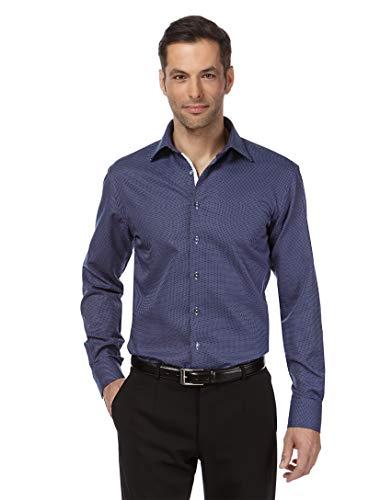 Vincenzo boretti camicia uomo eleganti, taglio normale/regular-fit, collo classico, manica lunga, con motivo, con inserti in contrasto - non stiro/non-iron blu scuro 41/42