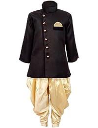 JBN Creation Boys Cotton Silk Sherwani Suit With Patiala Style Cowl Dhoti Pant (Black_VASBSW120GO)