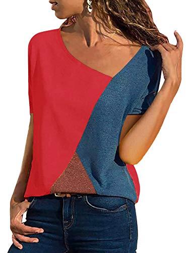 T-Shirt Damen V Ausschnitt Kurzarm Sommer Casual Farbblock T Shirt Top Bluse Oberteil (Kurzarm-Rot, XX-Large)