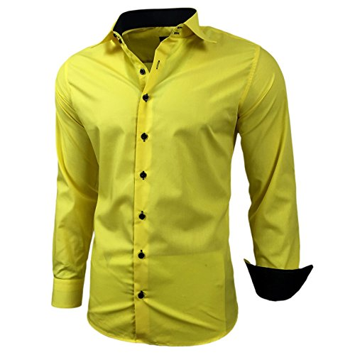 Herren Kontrast Basic Hemden Business Freizeit Langarm Anzug Hochzeit Hemd R-44, Farbe:Gelb;Größen:S