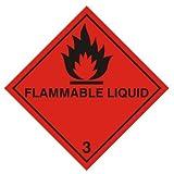 Segnale di pericolo – liquidi infiammabili (Diamante) 100 X 100 mm Adesivo