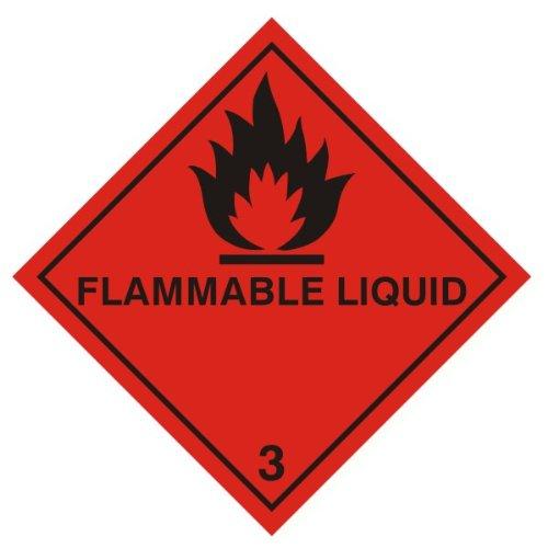 Warnzeichen - brennbare Flüssigkeiten (Diamant) 100 x 100 mm Aufkleber