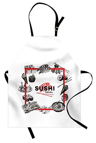 (Japan-Schürze, asiatisches Nahrungsmittelplatz-modernes Bild für japanische Sushi-Stäbe Restaurants, Unisexküchen-Latzschürze mit justierbarem Hals für das Kochen Backen-Gartenarbeit, Holzkohle-graues)