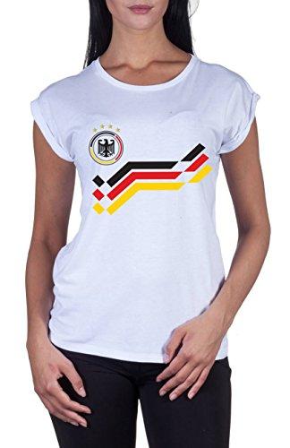 Loomiloo donna mondiali di calcio em germania maglietta stampabile con richiesta nome & numero donne maglietta, bianco, l