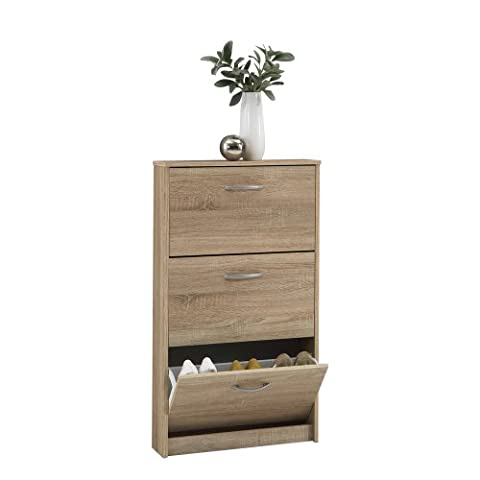 FMD Shoe Cabinet Step 3, 58.5 x 104.5 x 17.0 cm, Oak