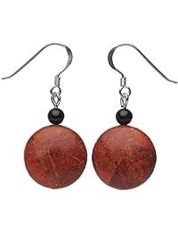 Ohrringe Ohrhänger aus Schaumkorallen & Onyx 925 Silber, Kreise flach, rot schwarz