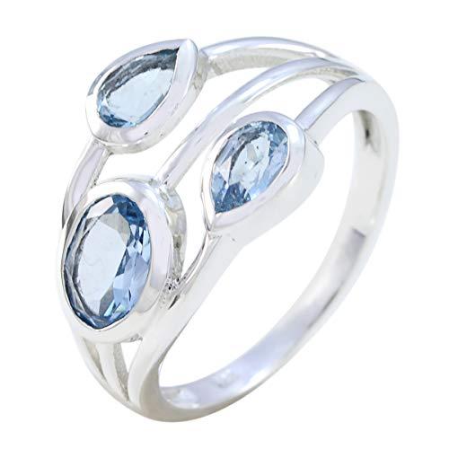 gute Edelsteine schwindelerregend facettierte Blautopas Ringe - massiv Silber Blau Blautopas guter Edelstein Ring - Designer Schmuck Geschenk für Arbeit Tag feinen Schmuck