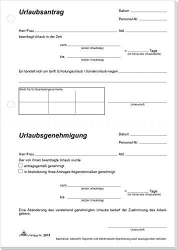 RNK - 2915 Urlaubsantrag, A5, 148 x 210 mm, 50 Blatt