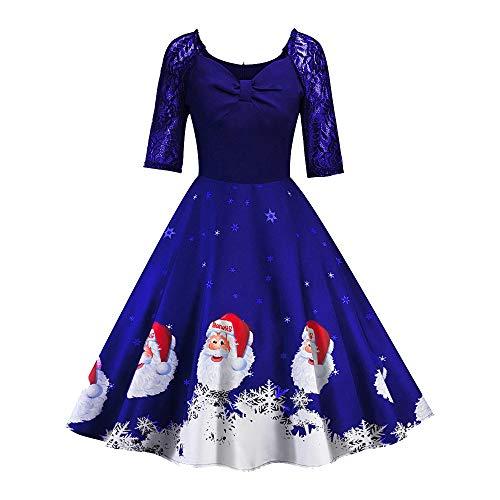 (SEWORLD Weihnachten Vintage Retro Christmas Frauen Halbe Hülse Spitze Patchwork Drucken Vintage Kleid Party Kleid(Blau,EU-34/CN-M))