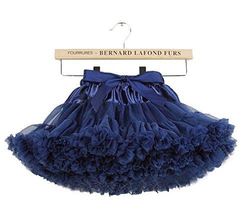 Delle ragazze del bambino Fluffy tulle plissettato tutu principessa balletto di ballo di Pettiskirt Tiered 2-4 anni / S, Navy