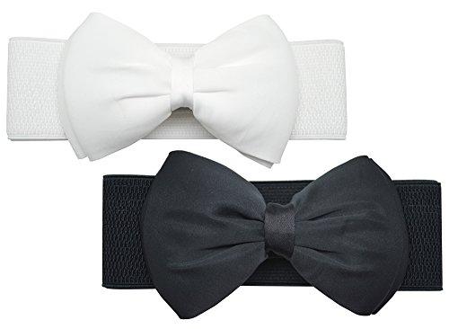 Meta-u, ampia cintura elastica floreale da donna black bow & white bow