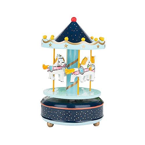 Vintage Holz Karussell Musik Box Kids Kinder Mädchen Weihnachten Geburtstag Geschenk Spielzeug Hochzeit Dekoration Star Blue 812